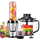 Blender, Deik Smoothie Blender, Food Processor and Chopper, Coffee Grinder, 3 Functions, Stainless Steel Body, Big Button Design, Silver