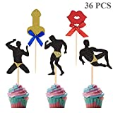 Bachelorette Party Cupcake Toppers Male Stripper Cupcake Picks for Hen Party Girls Night Out Party Decorations, 36 Pieces