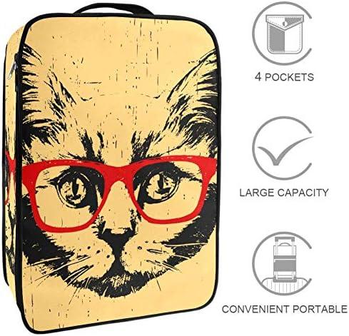 MYSTAGE シューズケース 靴入れ シューズバッグ シューズ袋 収納ポーチ 靴箱 履き替え 小物収納 取り付け 多機能 収納ケース メガネ 猫 イラスト