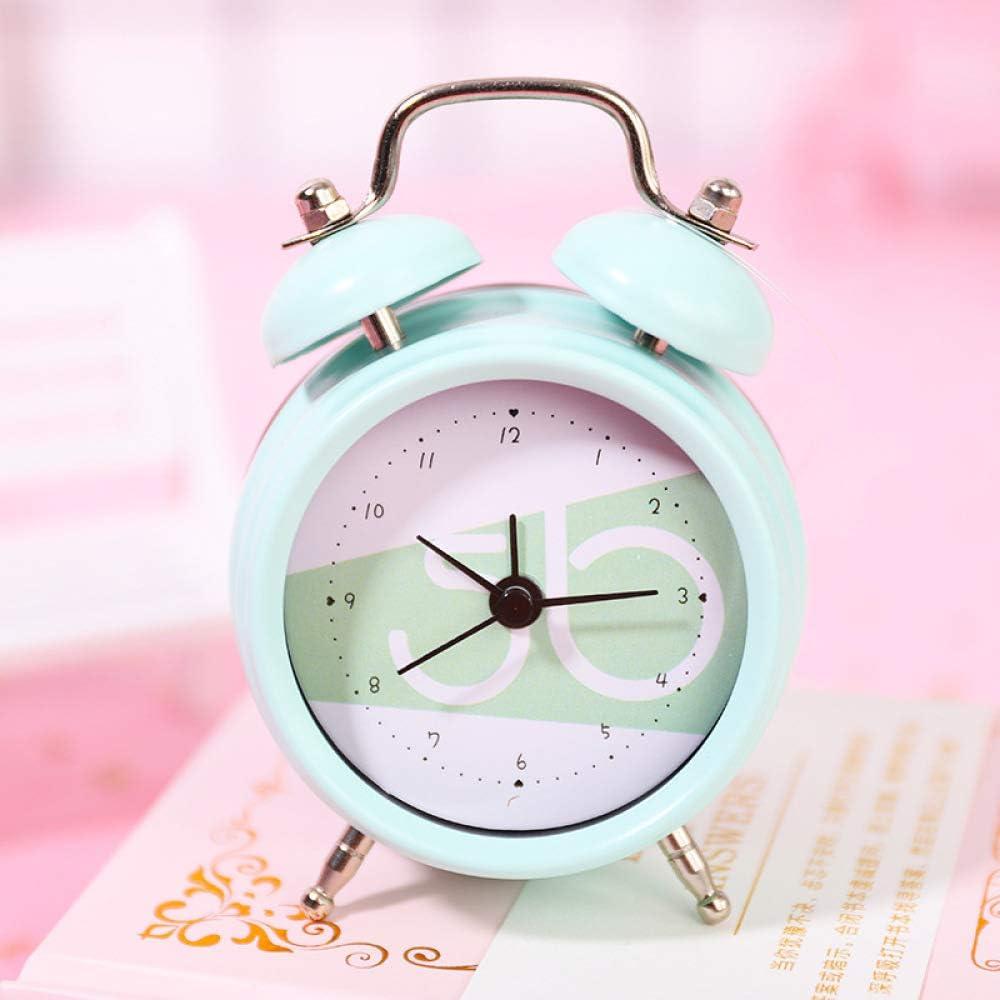 GYCZC Mini Reloj Despertador De Doble Campana Clásico De 2 Pulgadas con Pilas, Alarma Mecánica con Dial Estéreo, Unidad De Cuarzo, Sin Tictac Y Ruido