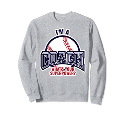 Unisex Funny Baseball Coach Sweatshirt for Men Gift Top Small Heather Grey Coach Womens Sweatshirt