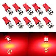 Grandview 10pcs 400LM T10 Wedge 20-SMD 2835 LED Light bulbs W5W 2825 158 192 168 194 Car Boot Truck Dome Map Light Interior Car LED Bulbs RV Truck Dashboard Parking Instrument Cluster Lights Lights DC 12V Red