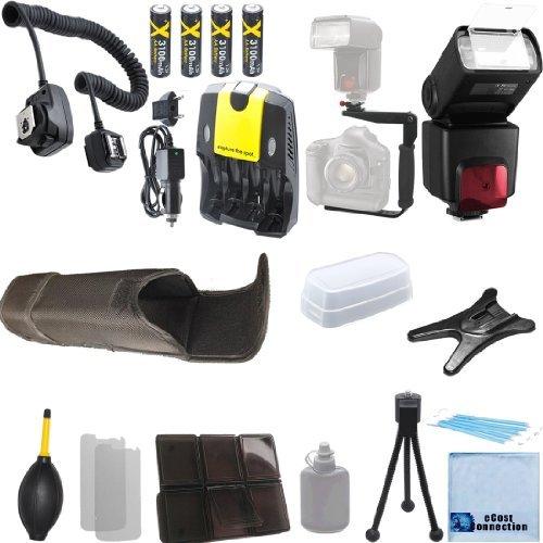 Pro Series Digital SLR Auto-Focus/Auto Power Zoom TTL Flash w/LCD Display + 180° Quick Flip Rotating Flash Bracket + Off Camera Shoe Cord + 4 AA Battery Charger + Deluxe Accessories Kit for Nikon D5500, D810, D750, D3000 D3100 D3200 D5000 D5100 D5200 D5300 DSLR ()