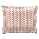 Roostery Arrow Standard Flanged Pillow Sham Southwest Triple Arrows - Coral by Fable Design Natural Cotton Sateen Made