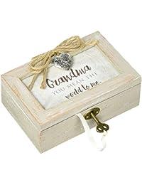Grandma You Mean The World Distressed Wood Locket Jewelry Music Box Plays Tune Wind Beneath My Wings