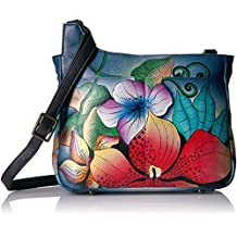 Anna by Anuschka Handpainted Leather Medium Cross Body, Midnight Floral