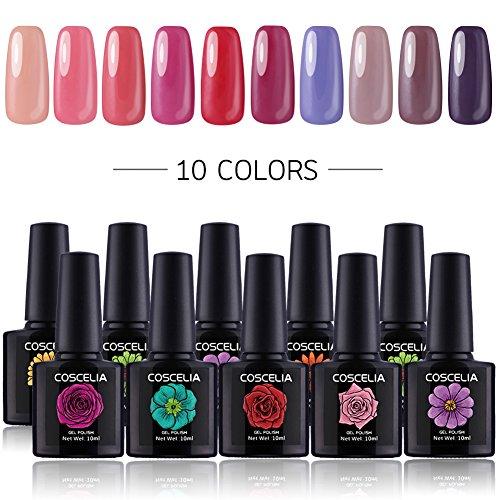 Coscelia Gel Nail Polish10 Multi Colours Nail Varnish Soak O