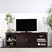 WE Furniture 70 Wood TV Console with Sliding Doors, Espresso