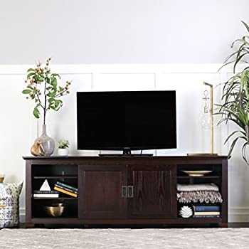 "WE Furniture 70"" Wood TV Console with Sliding Doors, Espresso"
