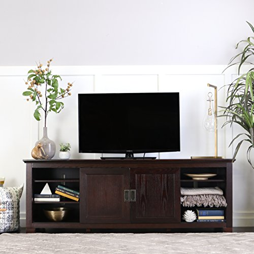 "WE Furniture 70"" Wood TV Console with Sliding Doors, Espress"