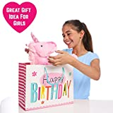 """GIFTS FOR GIRLS: Large 18"""" Pink Plush Stuffed Fluffy Unicorn Animal. Ideal Gift, Birthday Present Gift For Girls Aged 3 4 5 6 7 8 9 Years Old"""