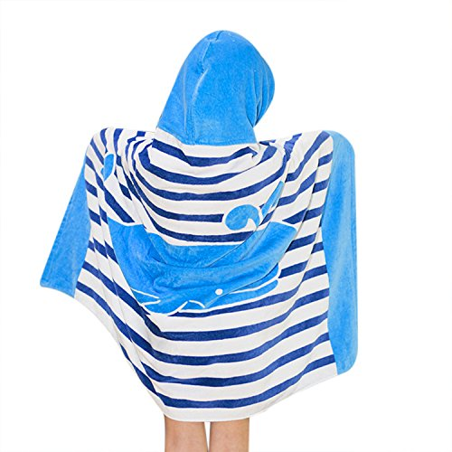 Kids Hooded Bath/Beach Towel Girls Boys Cute Cartoon Animal Full Vitality,100% Cotton (Blue whale)