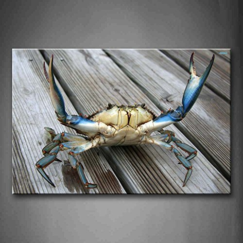- YIDA YUN Blue Crab Stretch Out Claw On Plank Wall Art Painting Picture Print On Canvas Animal Pictures For Room