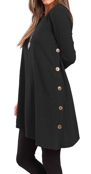 3022f930ff0 Long Sleeve T Shirt Women Black Irregular Hem Side Button Tunic Tops Shirt  (S