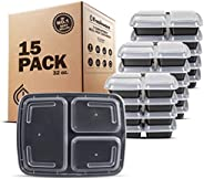 Freshware YH-3X15 15-Piece 3-Compartments Bento Lunch Box with Lids Set, 32 oz, Black