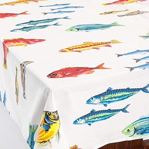 (Amelie Michel Wipe-Clean French Tablecloth in Calanques Fish | Authentic French Acrylic-Coated 100% Cotton Fabric | Easy Care, Spill Proof [60