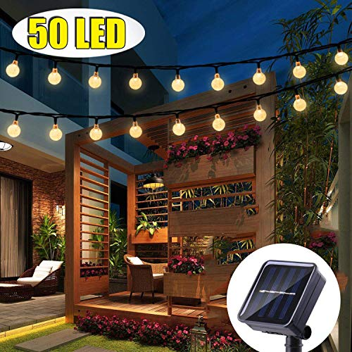 FlyCloud Solar String Lights Outdoor, 50 LED Waterproof LED Outdoor Solar Lights Crystal Ball Decorative Lights 24Ft Indoor Outdoor Fairy Lights for Garden, Patio, Yard, Christmas (Warm White)...