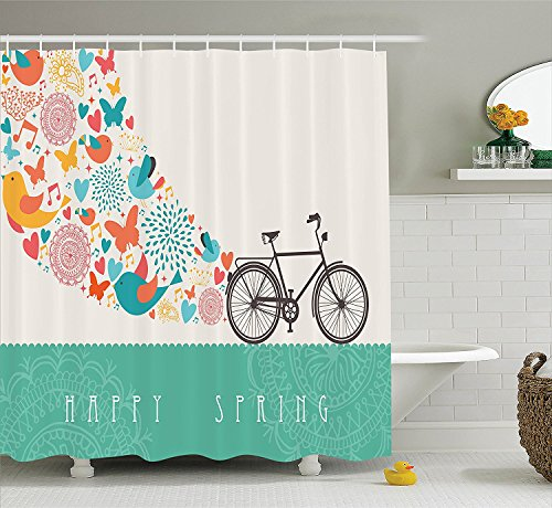 [Bicycle Decor Collection Happy Spring Themed Bike Concept with Blossomed Bird and Butterflies Fresh Textured Print Polyester Fabric Bathroom Shower Curtain Teal] (Bicycle Themed Halloween Costumes)