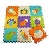 Menu Life P005 Soft Foam Play Mat Interlocking EVA Soft Jigsaw Puzzle Foam Baby Child Play Area Yoga Exercise Mats (30 x 30 x 1cm, 9pcs Play Mats Without Fences)
