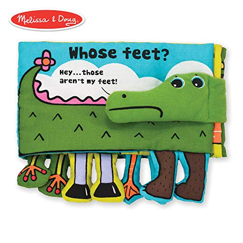 (Melissa & Doug Soft Activity Book - Whose Feet (Developmental Toys, Easy-to-Read Text, Dangly Feet, Machine Washable))