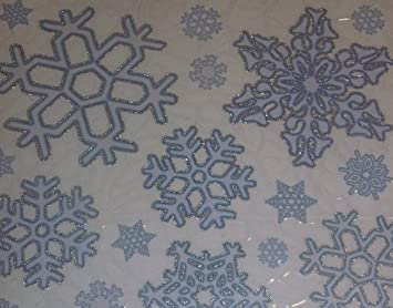 Christmas Xmas Glitter Snowflake Stickers Reusable Clings - Snowflake window stickers amazon