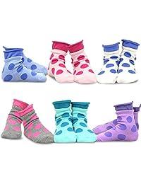 TeeHee Kids Girls Cotton Roll Top Crew Socks 6 Pair Pack