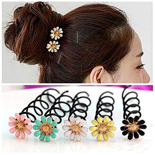 Lovef 10 Pcs 2016 Fashion Pearl Flower Spiral Spin Screw Pin Hair Clip Twist Barrette Hair Jewelry