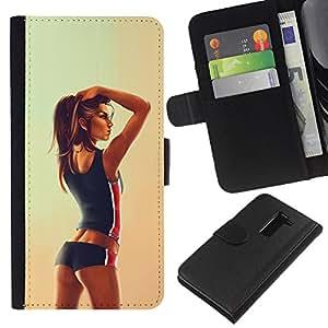 All Phone Most Case / Oferta Especial Cáscara Funda de cuero Monedero Cubierta de proteccion Caso / Wallet Case for LG G2 D800 // Sexy Fit Girl Woman Drawing
