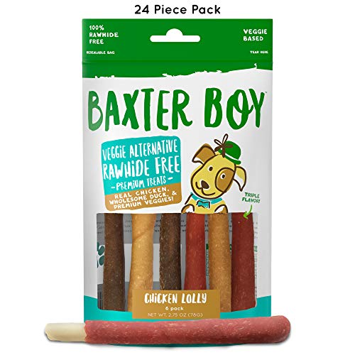 Baxter Boy Chicken Lolly Premium Natural Dog Treats Chews with Real Chicken Duck & Chicken Liver - Rawhide Free, 24 Pieces (4 Packs with 6 per Pack) - Gourmet Quality Fresh & Tasty ()