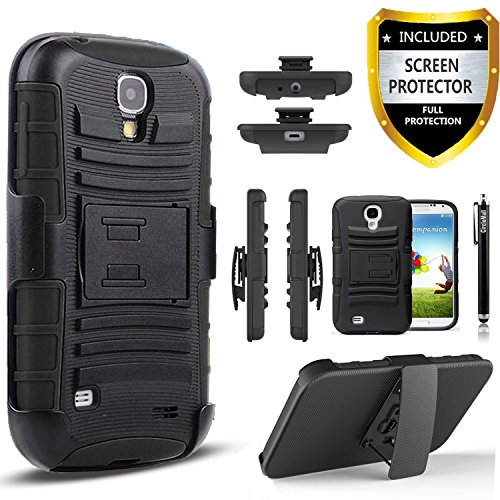 Galaxy S4 Case, Circlemalls Combo Shell Cover Kickstand with Built-in Holster Locking Belt Clip + Stylus Pen And Screen Protector For Samsung Galaxy S4-Black
