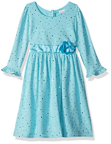 Youngland Girls' Toddler Sparkle Sweater Knit Dress with Flower Detail, Aqua, 3T