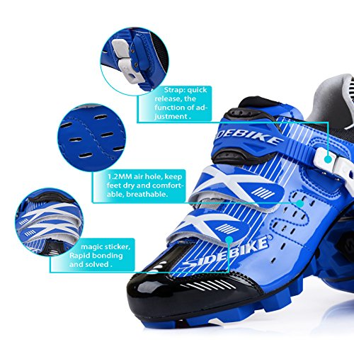 Smartodoors Herren Mountainbike Rennrad Schuhe Professional Racing Cyclin MTB-Blau Schwarz