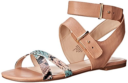 Nine West Women's Darcelle Leather Dress Sandal, Natural/Light Natural/Multi, 38 B(M) EU/6 B(M) UK