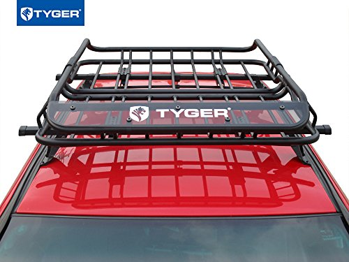 Tyger Auto TYGER Heavy Duty Roof Mounted Cargo Basket Rack | L47 x W37 x H6 | Roof Top Luggage Carrier | With Wind Fairing