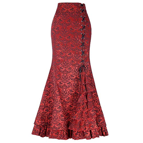 (Women Skirt Punk Vintage Gothic Ruffled Steampunk High Waist Maxi Mermaid Style (XL,)