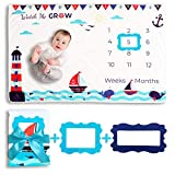Baby Blanket Monthly Milestone for Boys with Sea Theme Soft Wearable Fleece Photography Bonus 2 Photo Frames