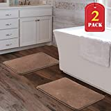 H.VERSAILTEX Memory Foam Super Soft Microfiber Bath Mat Set Floor Rugs Machine Washable Bath Rugs Set for Bathroom/Kitchen Dry Fast Water Absorbent Rugs, Taupe (Pack 2-17'' x 24'')
