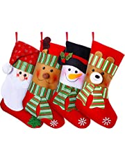 """Lvydec 4 Pack Christmas Stockings, 15"""" Large Size Xmas Stocking Set with Christmas Snowman Santa Reindeer Bear Fireplace Decoration Gift & Candy Pouch Bag Ornaments"""