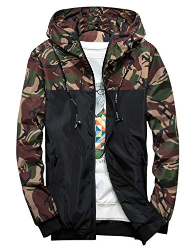 Rexcyril Men's Windbreaker Jacket, Floral Bomber Jacket Lightweight Zip-up Hooded Coat Army Green Large (Graphic Bomber Jackets For Men)