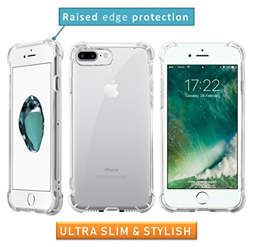 GuaGua Case Compatible with iPhone 7, iPhone 8 and Tempered Glass | 360 Protection - Shock Absorption Bumper | Soft TPU Cover Skin Cases for iphone 7/8 | Built-in Screen Protector Clear by GuaGua (Image #4)