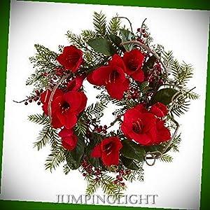 JumpingLight 24'' Amaryllis Wreath Artificial Flowers Wedding Party Centerpieces Arrangements Bouquets Supplies 27