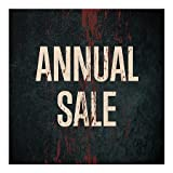 CGSignLab | ''Annual Sale -Ghost Aged Rust'' Repositionable Opaque White 1st Surface Static-Cling Non-Adhesive Window Decal (5-Pack) | 16''x16''