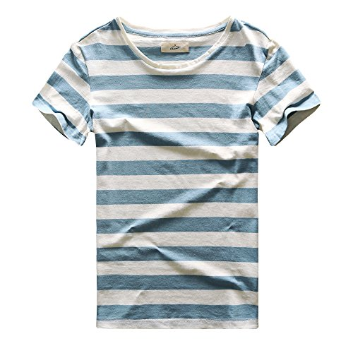 Zecmos Mens Stripes T-Shirts Casual Slim Fit Tshirts Striped Tees Top Blue S