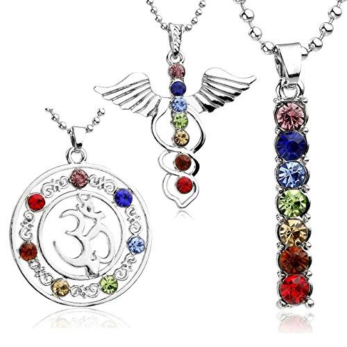 JOVIVI 7 Chakras Cut Glass Pendant Crystal Reiki Healing Balancing - 3pc Style