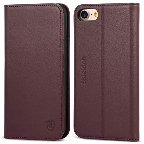 iPhone 7 Case, iPhone 8 Case, SHIELDON Genuine Leather iPhone 8 Wallet Case Credit Card Slots Magnetic Folio Cover KickStand TPU Protective Case Compatible with iPhone 7 iPhone 8 (4.7 inch) - Wine Red