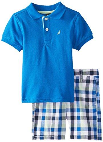 Nautica Little Boys' 2 Piece Solid Polo and Plaid Short Set,Brilliant,3T