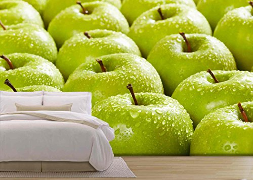 wall26 - Large Group of Granny Smith Apples in a Row. Selective Focus - Removable Wall Mural | Self-adhesive Large Wallpaper - 66x96 - Smith Focus