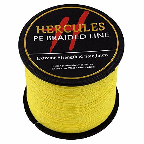 HERCULES 500m 547yds Yellow 6lbs-100lbs Pe Braided Fishing Line 4 Strands (10lb/4.5kg 0.12mm) ()