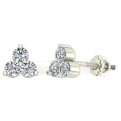 5faebffb7 0.42 ct tw Three Stone Triangle Setting Diamond Stud Earring 14K White Gold