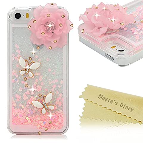 Iphone SE,Iphone 5S,Iphone 5 Case - Mavis's Diary 3D Bling Handmade Special Pink Love Heart Flowing Liquid with Lovely Flower White Butterfly Shiny Diamonds Design Clear Hard (5s Cases Special)
